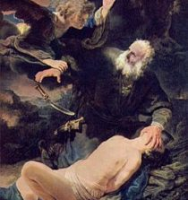 An angel prevents the sacrifice of Isaac. Abraham and Isaac, Rembrandt, 1634