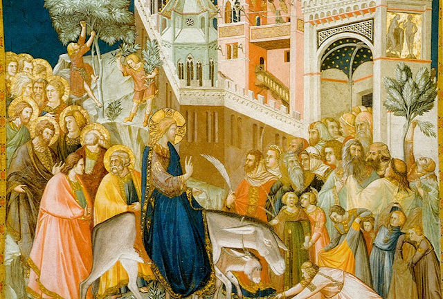 Jesus enters Jerusalem and the crowds welcome him, by Pietro Lorenzetti painted in 1320.