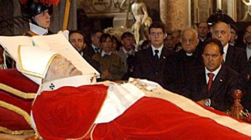 The body of Pope John Paul II in St. Peter's Basilica.