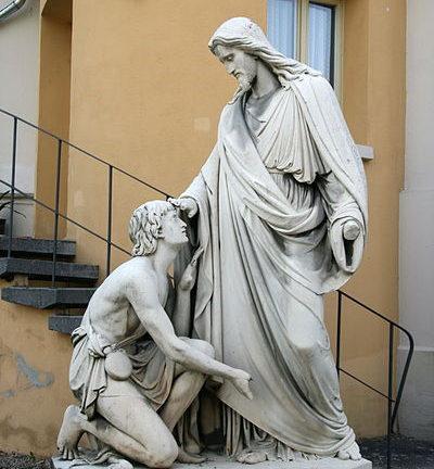 "Jesus healing blind Bartimaeus"" by Johann Heinrich Stöver, 1861. Erbach, Rheingau, Hesse, Germany"