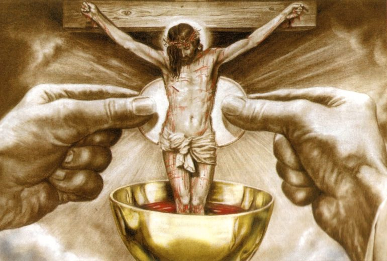 real presence eucharist This is for my assignment we have to make a speech and we have to talk and these five topics meal real presence sacrifice praise and thanksgiving.